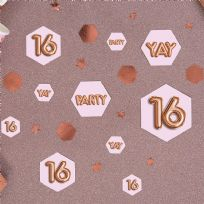 Glitz & Glamour Pink & Rose Gold Confetti Scatters 16th (100)